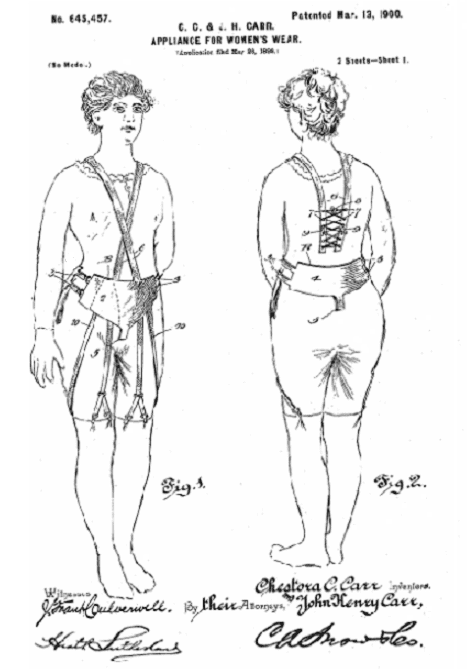 Photo: drawing from Chestora C. and husband John Henry Carr's patent for an appliance for women's wear