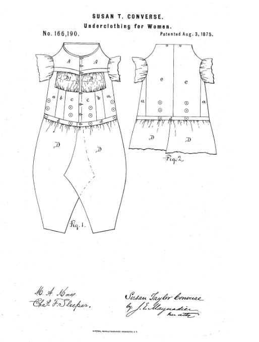 Photo: drawing from Susan T. Converse's patent for women's underwear