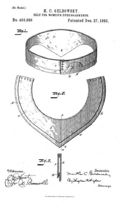 Photo: drawing from Martha C. Geldowsky's patent for a belt for women's undergarments