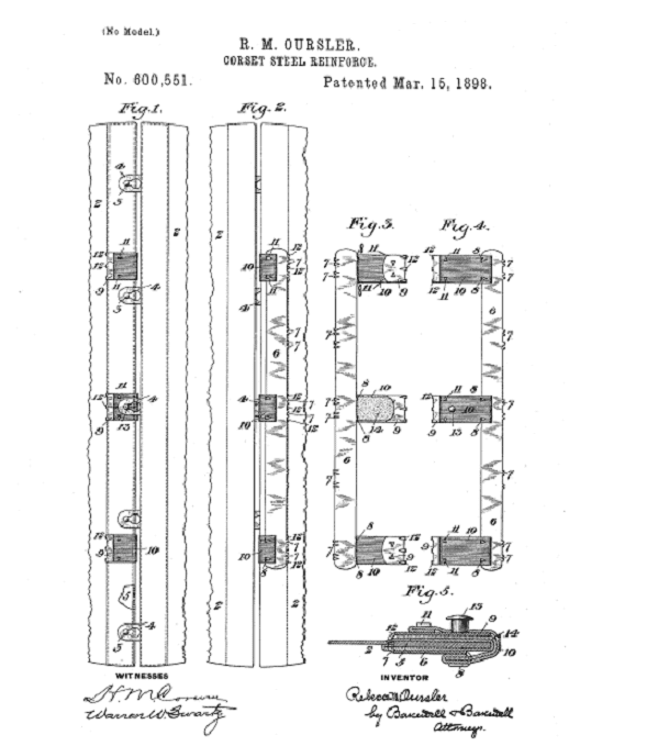 Photo: drawing from Rebecca M. Oursler's patent for a corset steel reinforcer