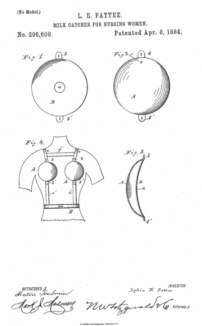 Photo: drawing from Lydia E. Pattee's patent for a milk catcher for nursing women