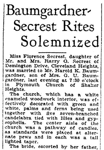 A wedding announcement for Florence Secrest and Harold Baumgardner, Plain Dealer newspaper article 18 June 1930