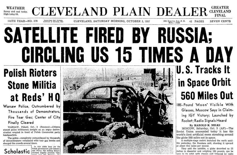 An article about the Soviet Union launching Sputnik, Plain Dealer newspaper article 5 October 1957