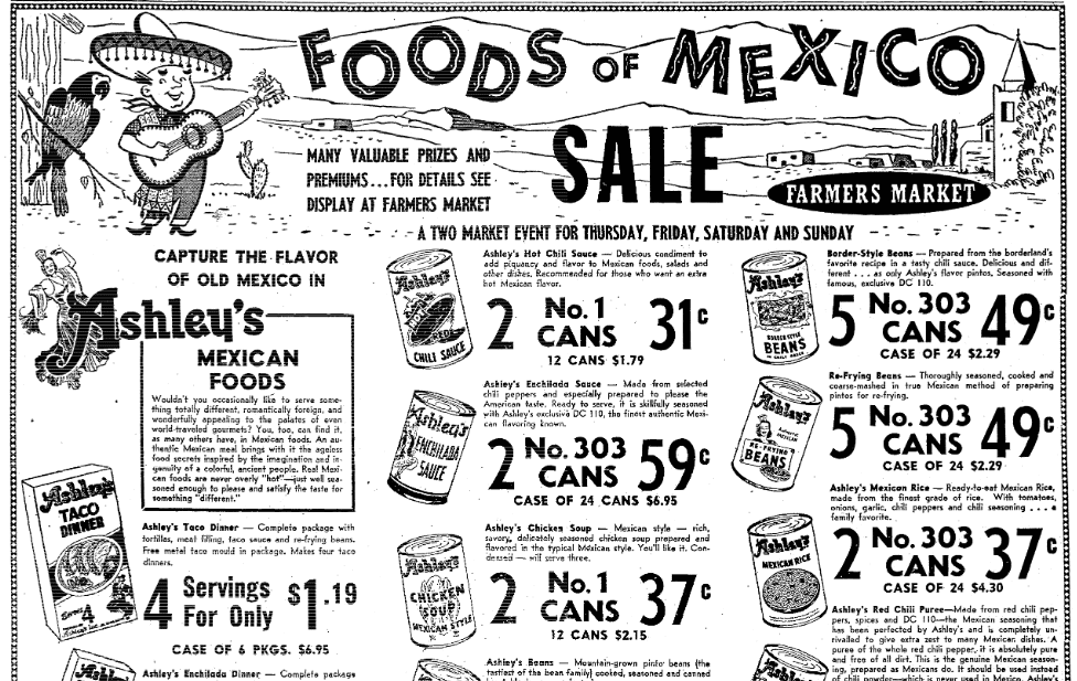 An ad for Mexican food, Sacramento Bee newspaper advertisement 19 May 1955
