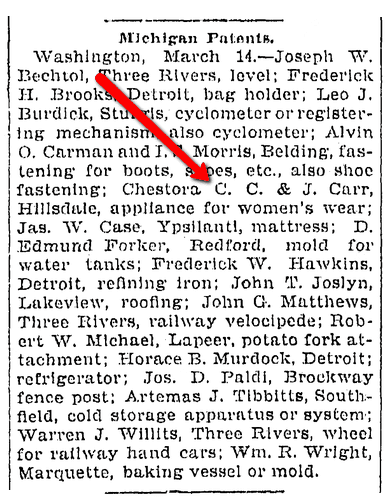 An article about Michigan patents, Saginaw News newspaper article 14 March 1900