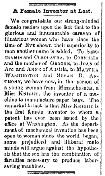 An article about Martha Knight, San Francisco Chronicle newspaper article 9 December 1872