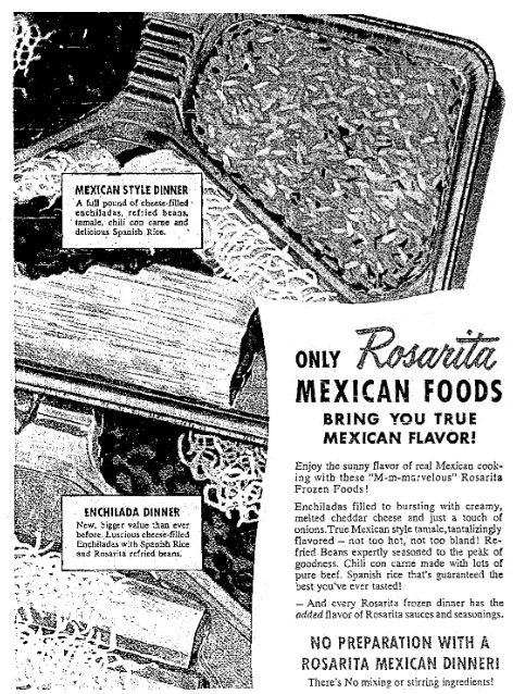 An ad for frozen Mexican food, Seattle Daily Times newspaper advertisement 16 September 1956