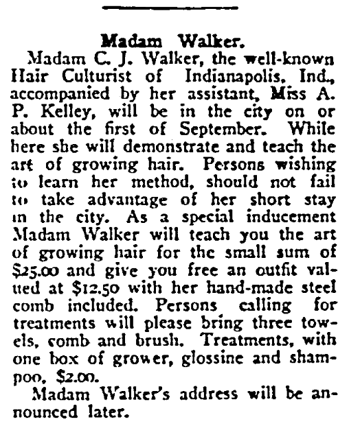 An article about Madam C. J. Walker, Washington Bee newspaper article 9 August 1913
