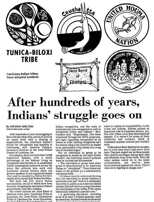 An article about Native Americans, Advocate newspaper article 7 August 1983