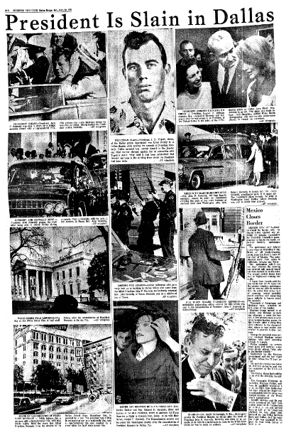 An article about the assassination of President John F. Kennedy, Advocate newspaper article 23 November 1963