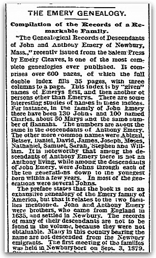 An article about the Emery family history,