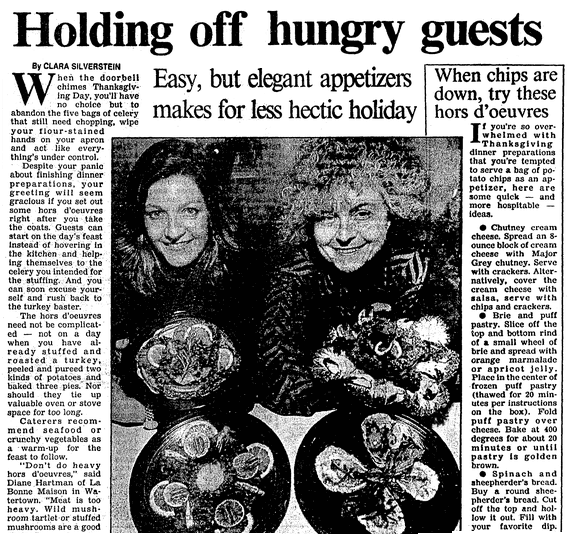 An article about appetizers, Boston Herald newspaper article 25 November 1991