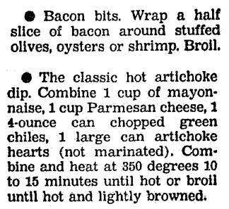 A recipe for Bacon Bits and Artichoke Dip appetizers, Boston Herald newspaper article 25 November 1991