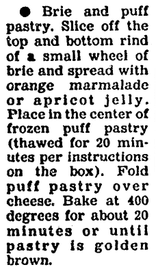 A recipe for Brie and Puff Pastry appetizer, Boston Herald newspaper article 25 November 1991
