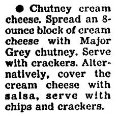 A recipe for Chutney Cream Cheese appetizer, Boston Herald newspaper article 25 November 1991