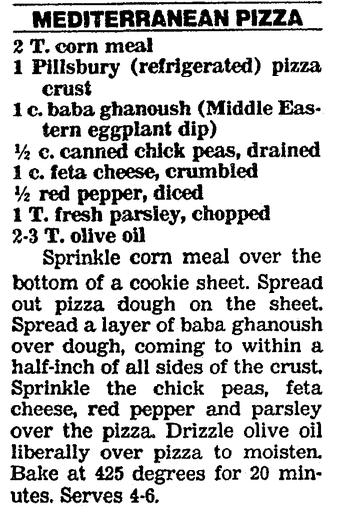 A recipe for Mediterranean Pizza appetizer, Boston Herald newspaper article 25 November 1991