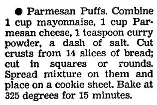 A recipe for Parmesan Puffs appetizer, Boston Herald newspaper article 25 November 1991