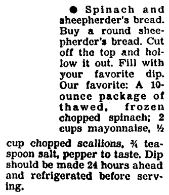 A recipe for Spinach and Sheepherder's Bread appetizer, Boston Herald newspaper article 25 November 1991
