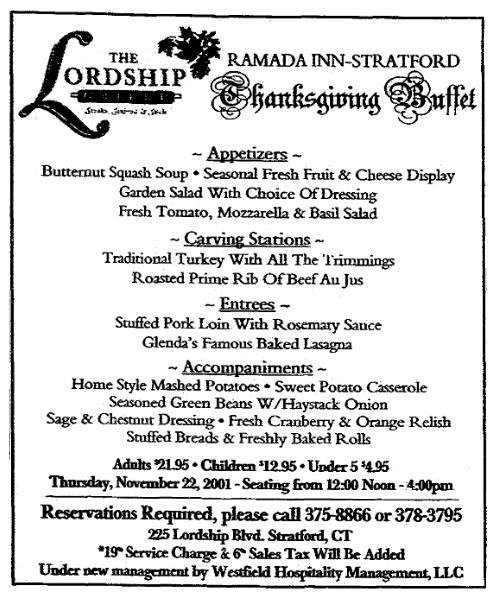 A Thanksgiving menu, Connecticut Post newspaper article 16 November 2001