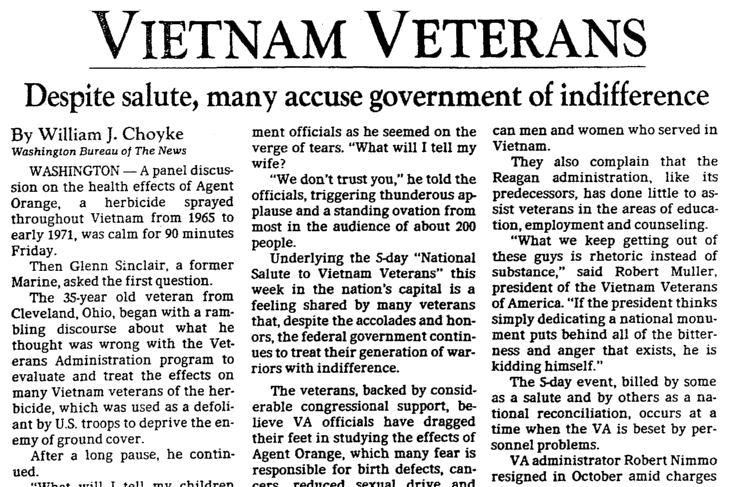 An article about the Vietnam Veterans Memorial, Dallas Morning News newspaper article 13 November 1982