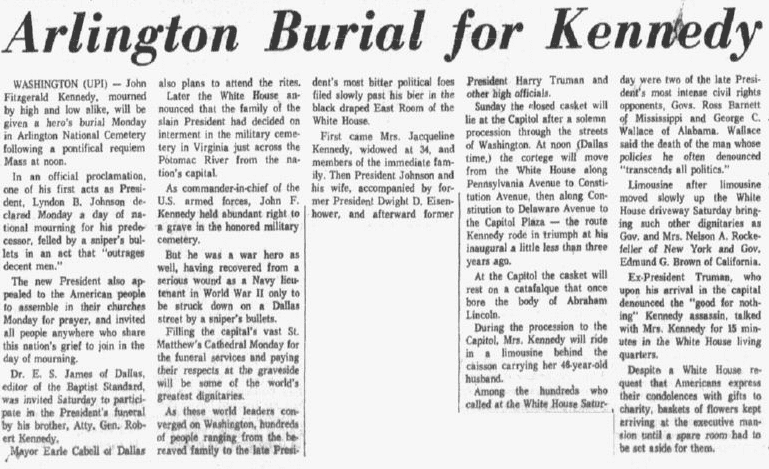 An article about the burial of President John F. Kennedy, Dallas Morning News newspaper article 24 November 1963