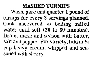 A recipe for Mashed Turnips, Evansville Courier and Press newspaper article 24 November 1985