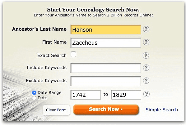 A screenshot of GenealogyBank's search page showing a search for Zaccheus Hanson
