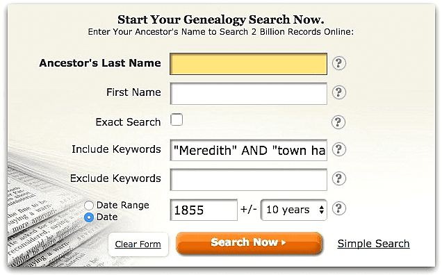 "A screenshot of GenealogyBank's search page showing a search for Meredith and ""town hall"""