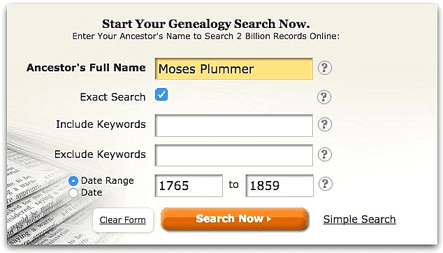 A screenshot of GenealogyBank's search page showing a search for Moses Plummer