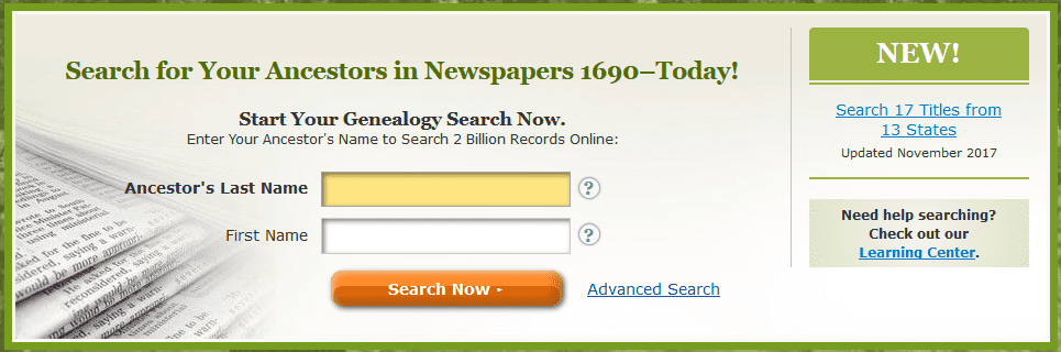 A screenshot of GenealogyBank's homepage showing the announcement for new content added in November 2017