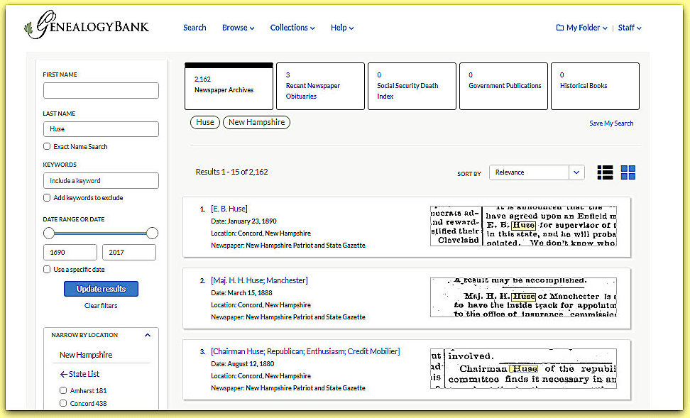 A screenshot of GenealogyBank's new look