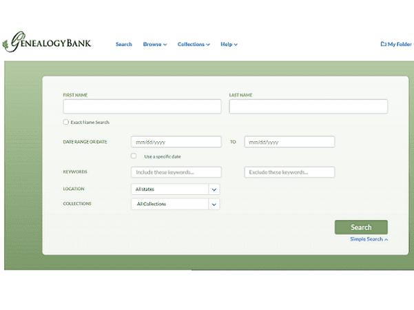 A screenshot of GenealogyBank's new look