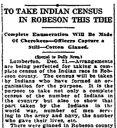 An article about a census of Native Americans, Greensboro Daily News newspaper article 22 December 1919