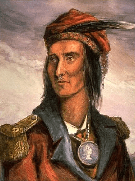 Painting: portrait of Shawnee Chief Tecumseh, by Benson Lossing in 1848 based on 1808 drawing