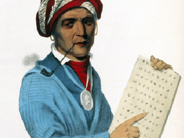 Illustration: Sequoyah with a tablet depicting his writing system for the Cherokee language; 19th-century print of a painting