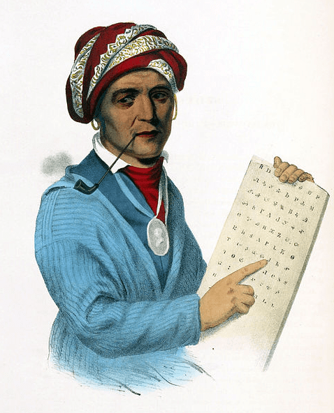 Illustration: Sequoyah with a tablet depicting his writing system for the Cherokee language