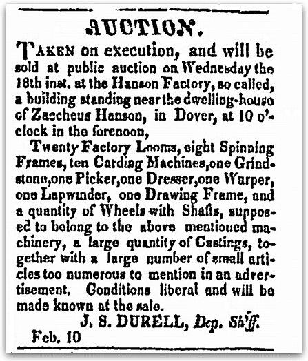 An article about the Hanson Factory in New Hampshire, New-Hampshire Republican newspaper article 10 February 1829