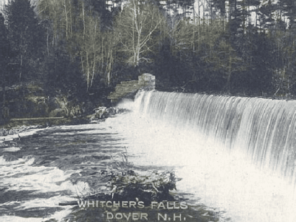 Photo: Whitcher's Falls, Dover, New Hampshire; from a c. 1910 postcard. Credit: Wikimedia Commons.