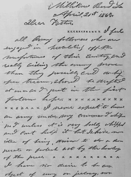 Photo: letter from Ulysses S. Grant to his father, from Milliken's Bend, Louisiana, 21 April 1863