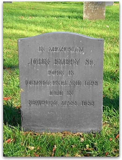 Photo: gravestone of John Emery in the Burying Ground of the First Settlers, Newbury, Essex County, Massachusetts