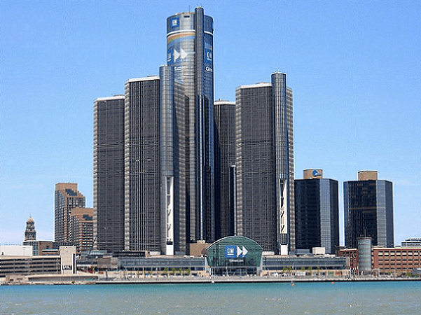 Photo: skyscrapers in downtown Detroit, taken from Windsor on the Canadian side of the Detroit River. Credit: Ritcheypro; Wikimedia Commons.