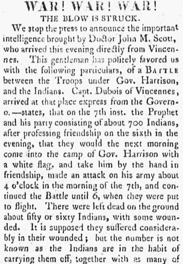 An article about the Battle of Tippecanoe, Poulson's American Daily Advertiser newspaper article 2 December 1811