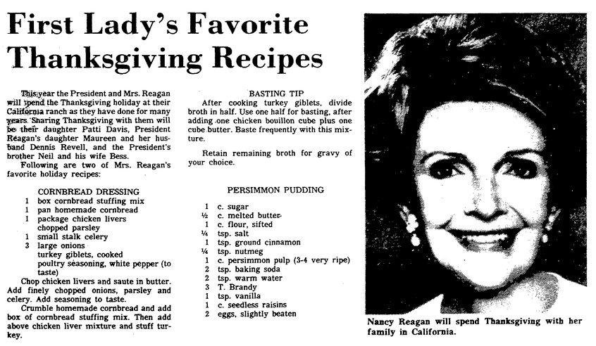 Thanksgiving recipes, State newspaper article 18 November 1981