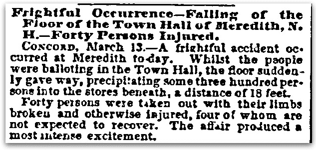 "An article about the ""Great Catastrophe"" in Meredith, New Hampshire, Sun newspaper article 14 March 1855"