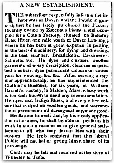 An article about the Hanson Factory in New Hampshire, Sun newspaper article 26 September 1820
