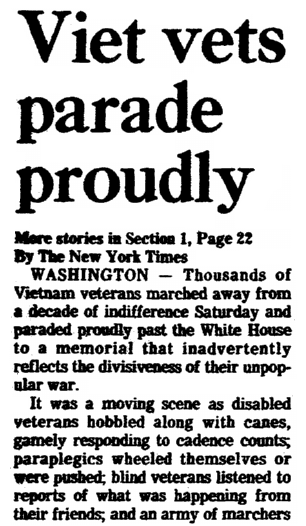 An article about the Vietnam Veterans Memorial, Times-Picayune newspaper article 14 November 1982
