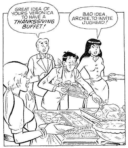 A Thanksgiving cartoon, Trenton Evening Times newspaper cartoon 20 November 1988