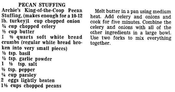 A Pecan Stuffing recipe, Trenton Evening Times newspaper article 20 November 1988