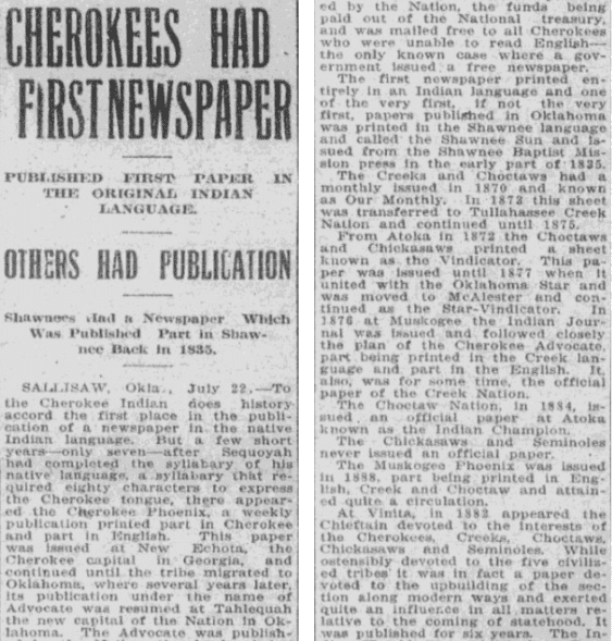 An article about the Cherokee Phoenix newspaper, Tulsa World newspaper article 23 July 1913