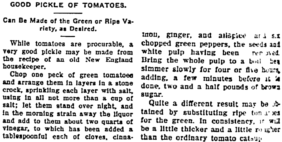 A pickled tomatoes recipe, Washington Bee newspaper article 28 December 1907
